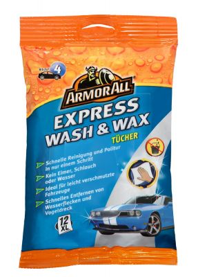Die ArmorAll Express Wash & Wax-Tüchern im XL-Format.