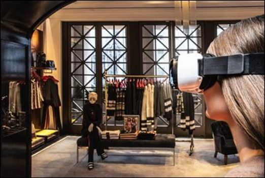 Model mit Virtual Reality Headset in Tommy Hilfiger's Fifth Avenue Flagship Store (Foto: Business Wire)