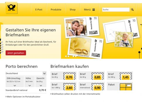 Screenshot: www.deutschepost.de