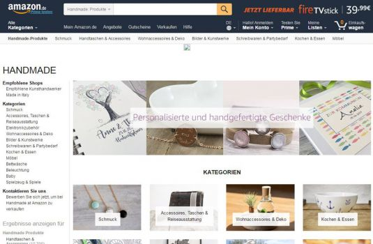 Screenshot www.Amazon.de/handmade