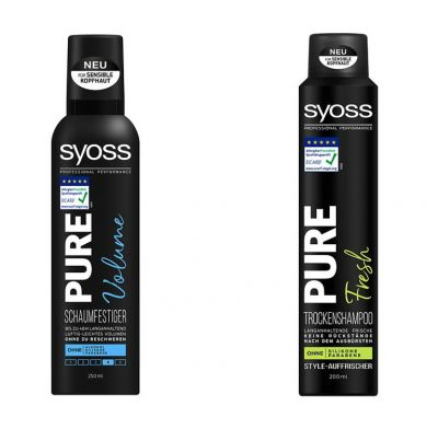 Syoss Pure Schaumfestiger Volume, 250 ml, und Syoss Pure Trockenshampoo Fresh, 200 ml © Henkel