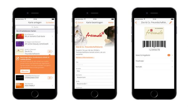 "Drei ""Sign Up New Cards""-Screenshots anhand des Beispiels von Zoo und Co © bluesource – mobile solutions gmbh"