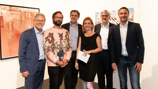 V.l.: Manner-Vorstand Albin Hahn, Head of Digital Marketing Michael Wieland, Vorstand Alfred Schrott, Kunstmanagerin Vera Steinkellner, Vorstand Thomas Gratzer sowie Marketingleiter Ulf Schöttl